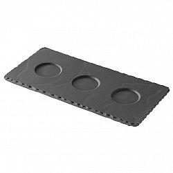 REVOL Podnos Basalt s troma priehlbinami 25 x 12 cm